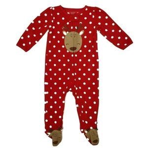 Carters Christmas Pajamas Reindeer Red Whte Dots
